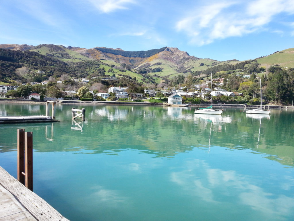Akaroa harbour in Canterbury New Zealand